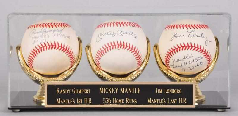 Lot of 3: Mickey Mantle Related Signed Baseballs.