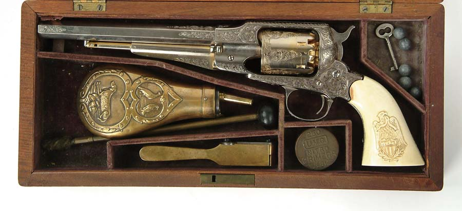 CASED ENGRAVED REMINGTON NEW MODEL ARMY REVOLVER.