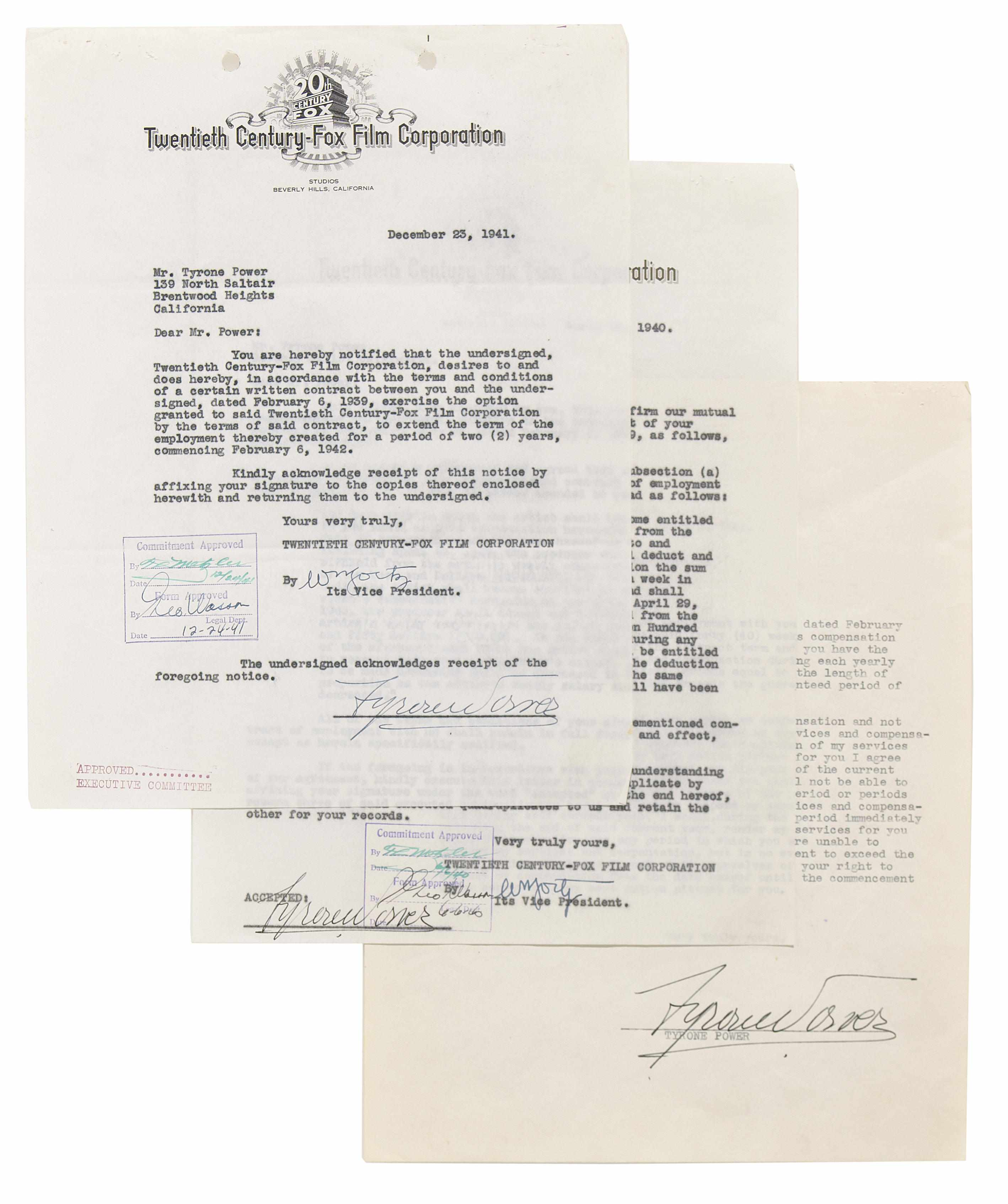 Tyrone Power signed documents 1940 and 1941