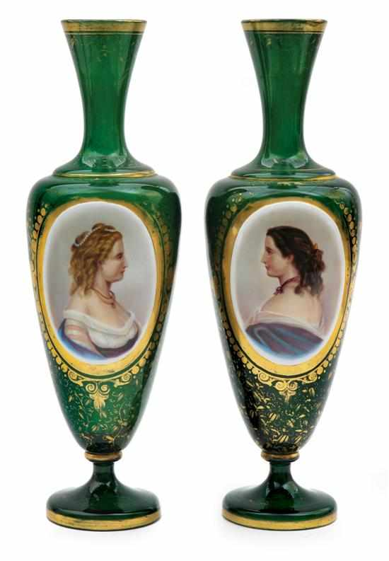 Price Guide For A Pair Of Bohemian Green Glass Portrait Vases