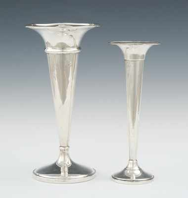 Two Sterling Silver Trumpet Vases Consisting