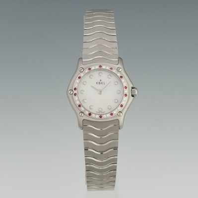 A Ladies' Ebel Watch with Diamonds & Rubies