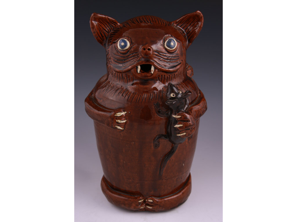 NC Folk Pottery, Albert Hodge Cat and Mouse,