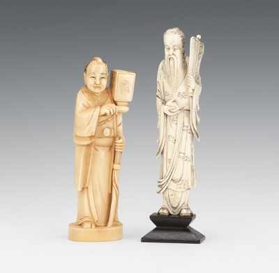 Ivory Figures of an Immortal and a Warrior