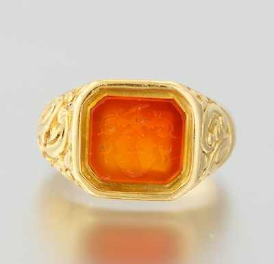 A Gentleman's 18k Gold and Carnelian Intaglio