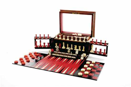 Royal Cabinet of Games 19th century wood
