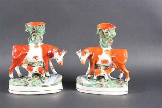Pair of Staffordshire painted earthenware