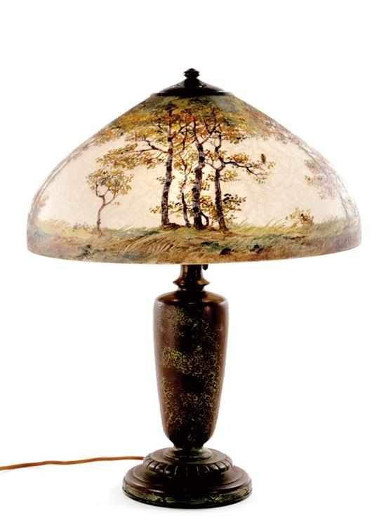 Handel landscape-decorated table lamp circa