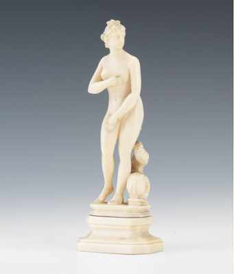 A European Carved Ivory Nude Figural 19th