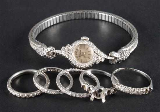 Gold platinum and diamond jewelry including: