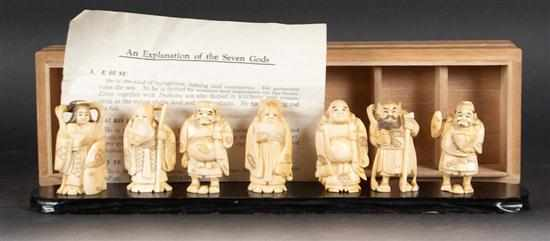 Group of Japanese carved miniature ivory