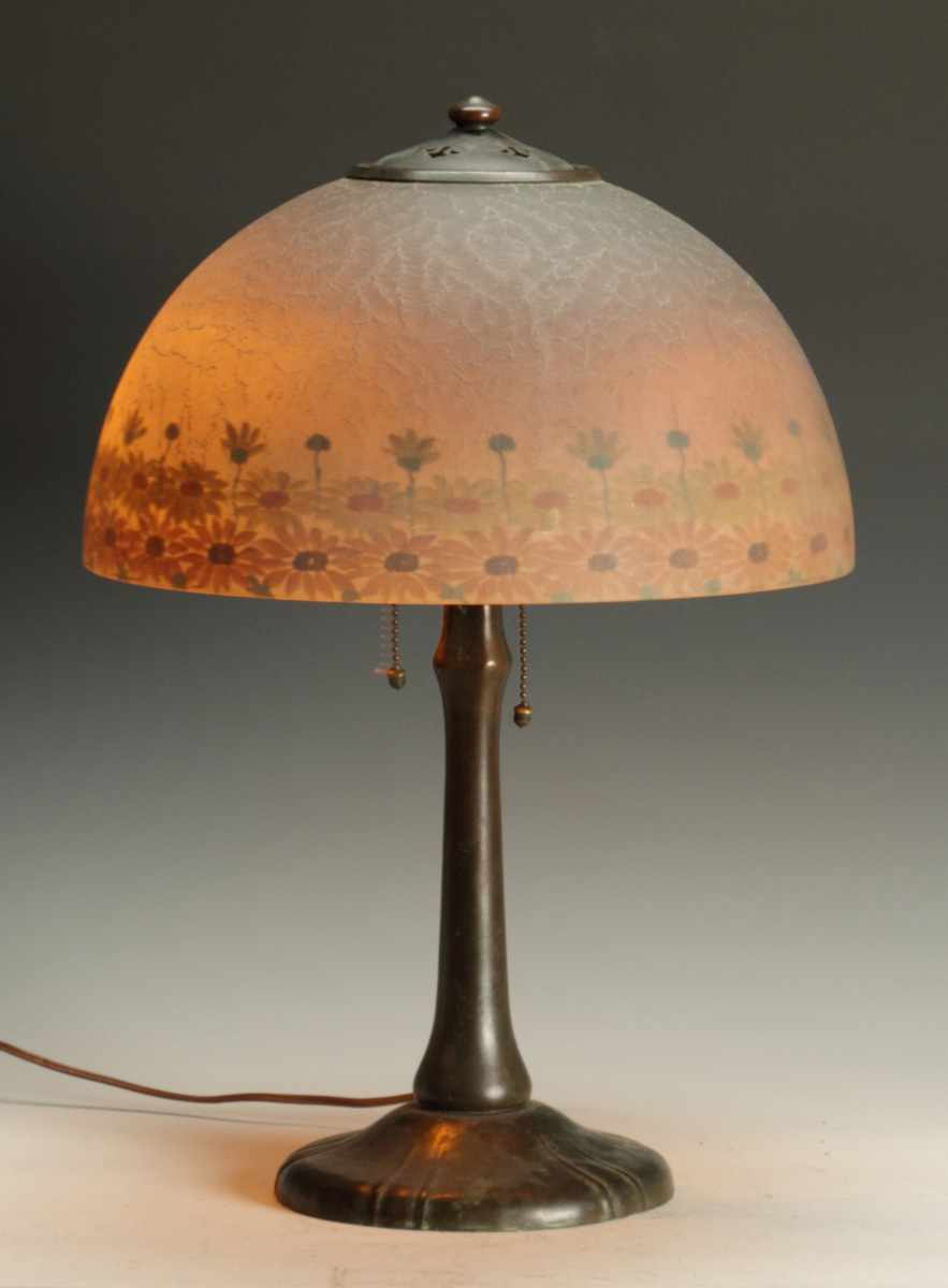 Handel Reverse Painted Lamp Chipped ice shade