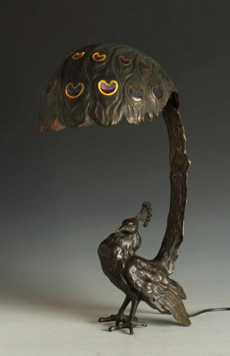 Unusual Bronze Peacock Lamp Early 20th cent.