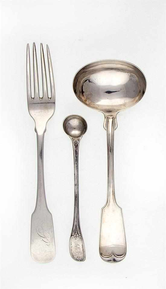Southern coin silver fork by William H. Ewan;