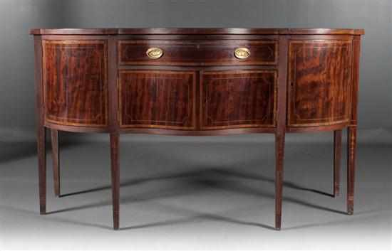 Federal style inlaid mahogany shaped front