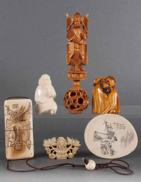Six Japanese carved ivory and bone figures