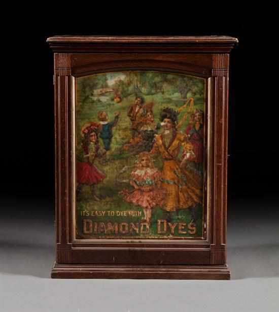 Diamond Dyes oak and lithographed tin advertising