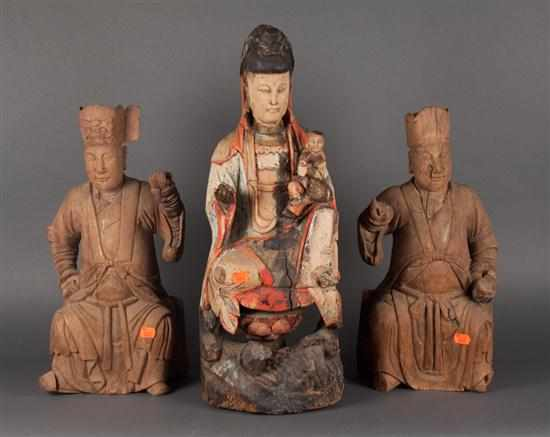 Pair of Chinese carved wood figures of deities