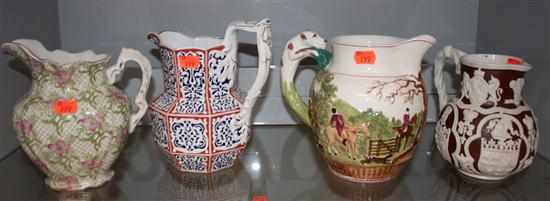 Four English china and salt glazed stoneware