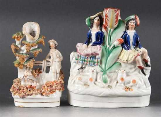Two Staffordshire painted earthenware figural