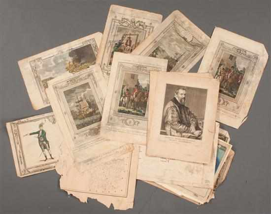 [Prints Americana] Eight hand-colored engravings