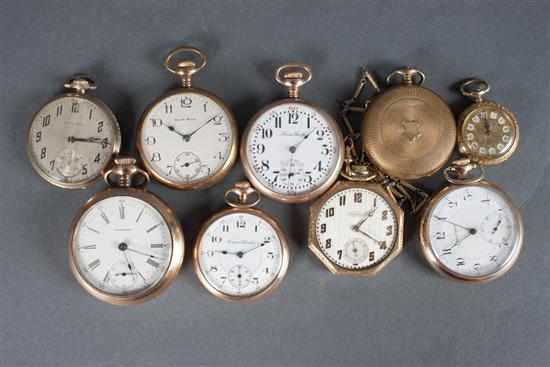 Group of gold-filled pocket watch including: