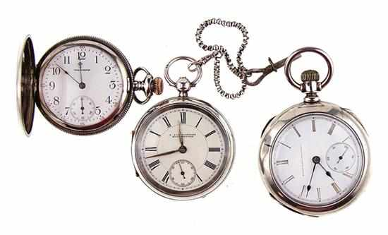 Collection of silver pocket watches English