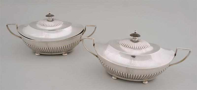 PAIR OF GORHAM MONOGRAMMED SILVER TWO-HANDLED