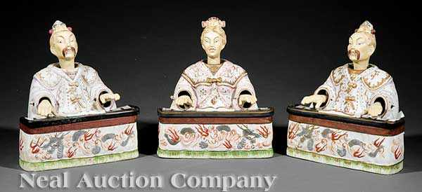 A Suite of Three Japanese Polychrome and