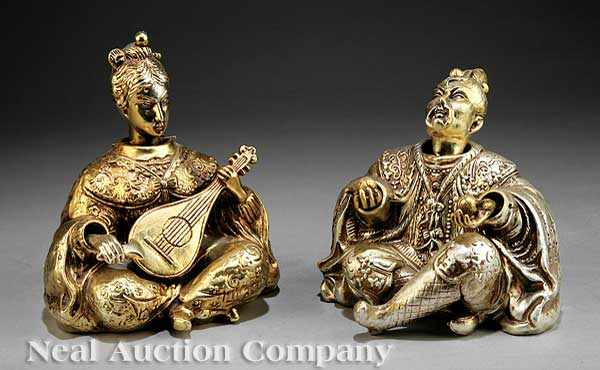 A Pair of Japanese Gilt Porcelain Male and