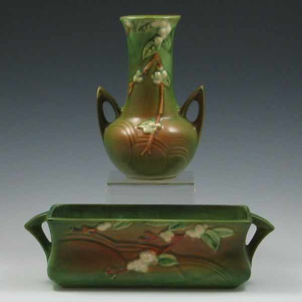 Price Guide For Roseville Snowberry Handled Vase And Window
