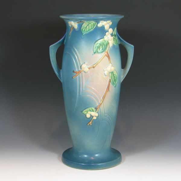 Price Guide For Roseville Snowberry Floor Vase In Blue Marked