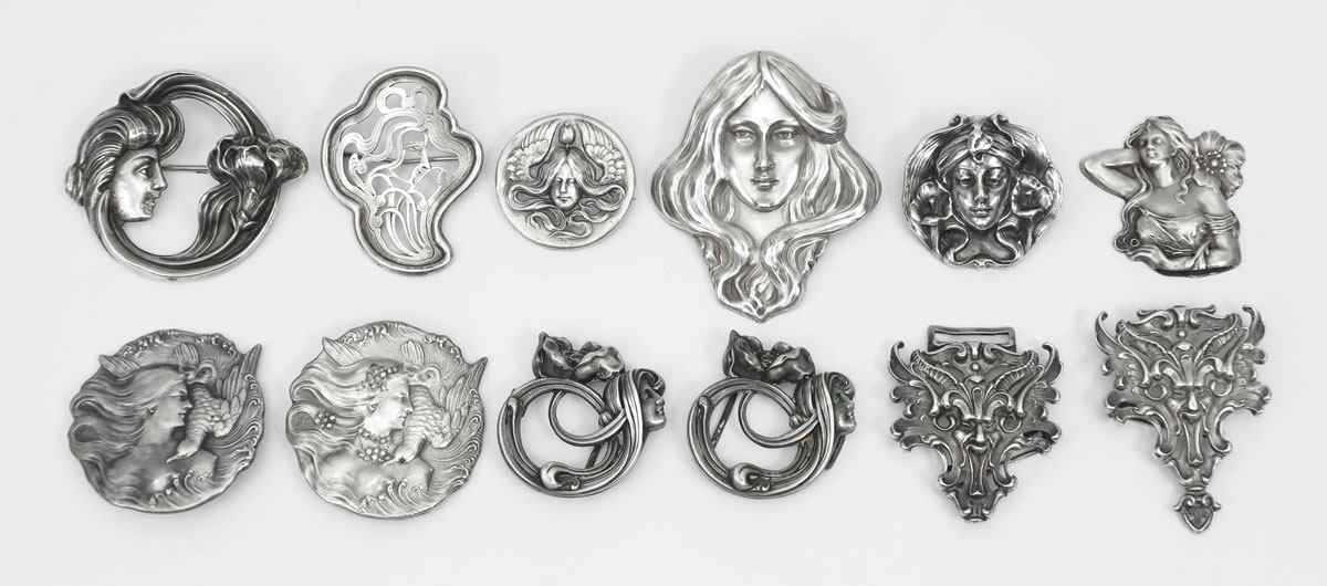 ART NOUVEAU STERLING SILVER PINS: To include;