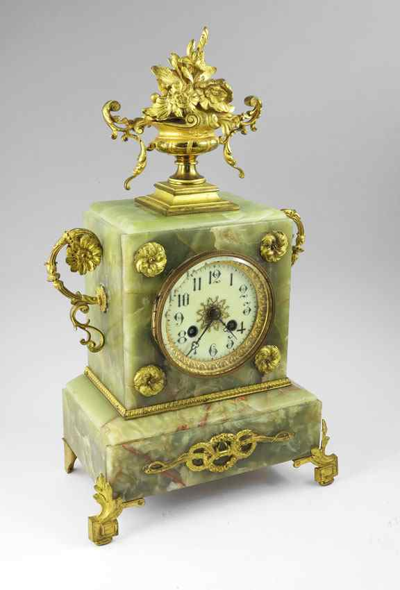FRENCH ORMOLU AND GREEN ONYX MANTLE CLOCK: