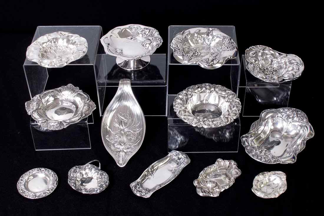 ASSEMBLED COLLECTION OF ART NOUVEAU STERLING