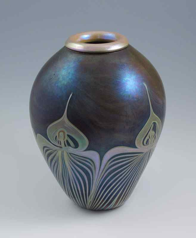 Price guide for CONTEMPORARY STUDIO ART GL VASE: Iridescent on