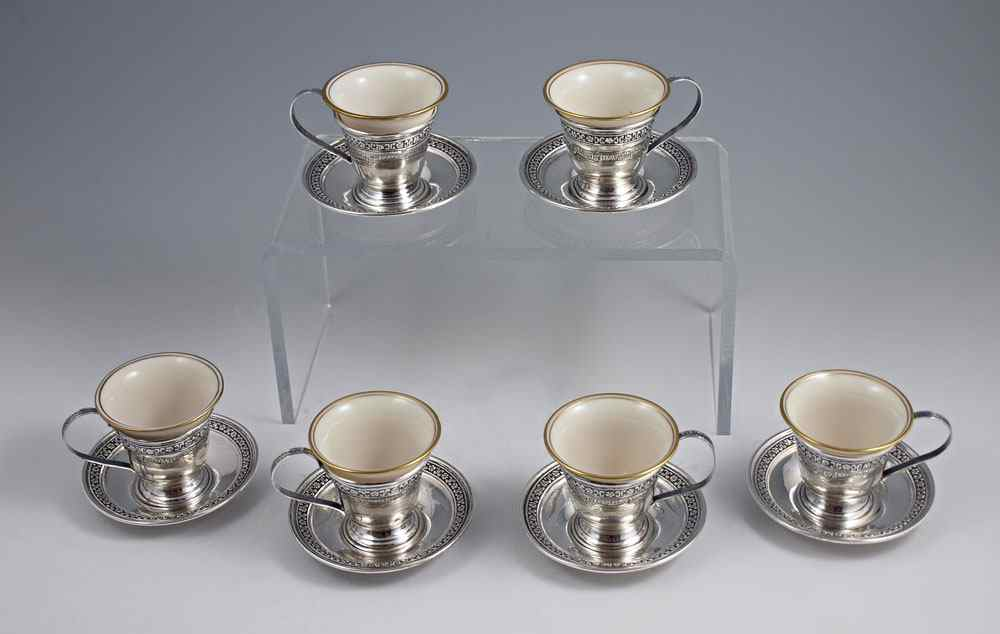 SET OF 6 LENOX AND STERLING DEMITASSE CUPS: