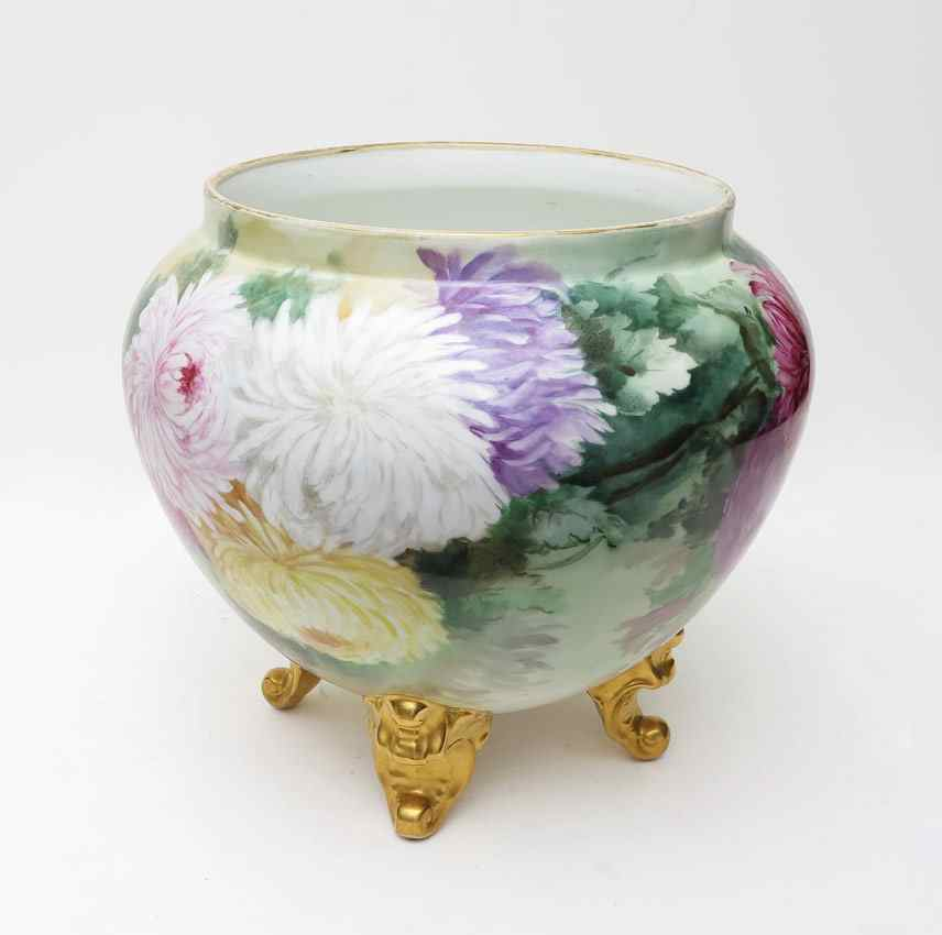 DELINIERES FRENCH LIMOGES PORCELAIN JARDINIERE: