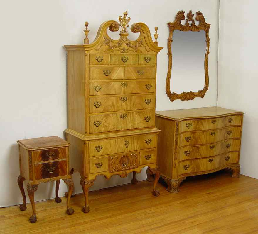 Northern Furniture Co High Boy Chest Mirror Nightstand 4 Piece Carved Light Gany Bedroom The Highboy Has 12 Drawers Ornate Pediment And