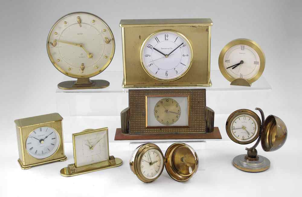 8 PIECE TIFFANY & RENSIE TRAVEL & DESK CLOCKS: