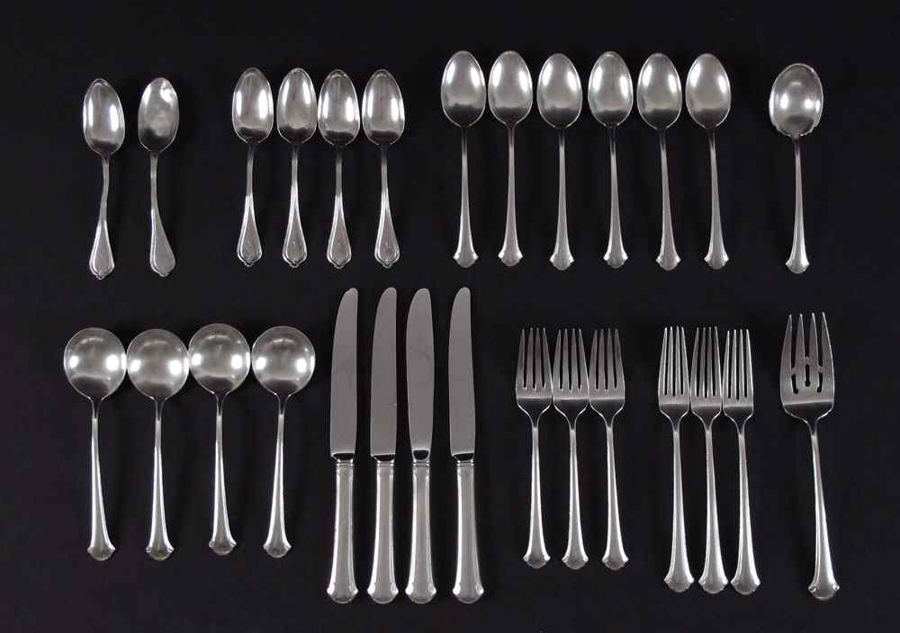 21 PIECE TOWLE CHIPPENDALE STERLING FLATWARE: