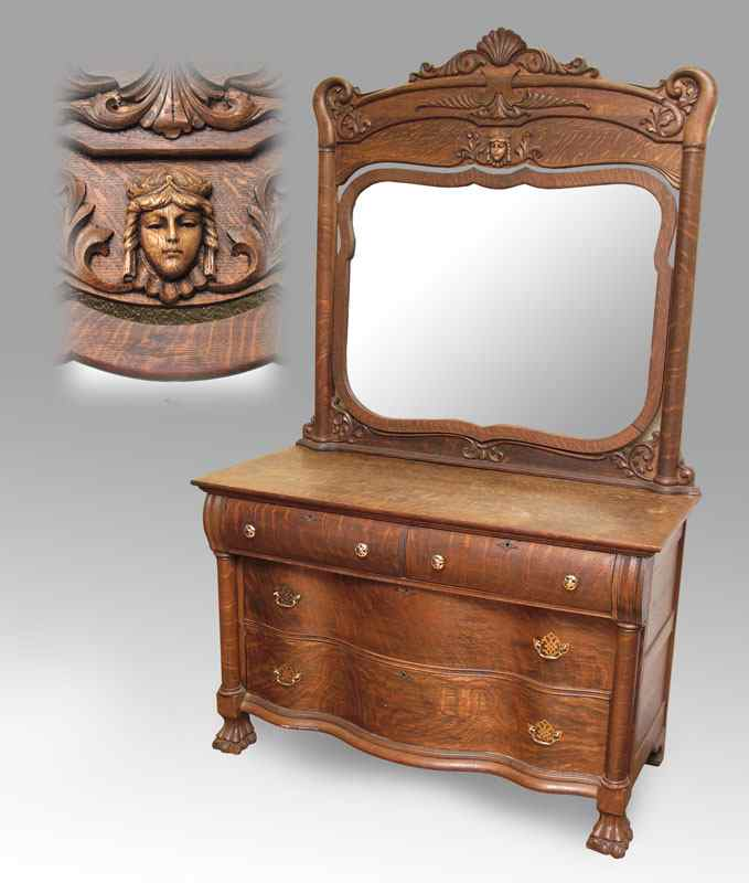 Price Guide For Karges Quarter Sawn Oak Dresser With Mirror