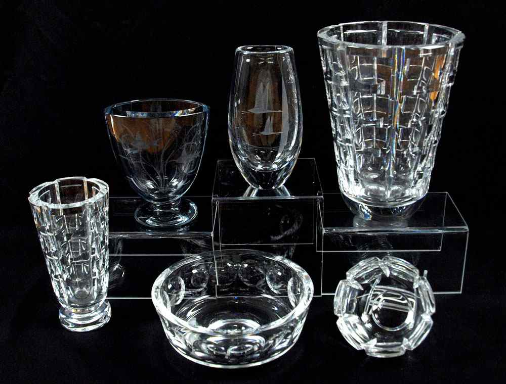 Price Guide For 6 Piece Group Of Orrefors Crystal Vases And