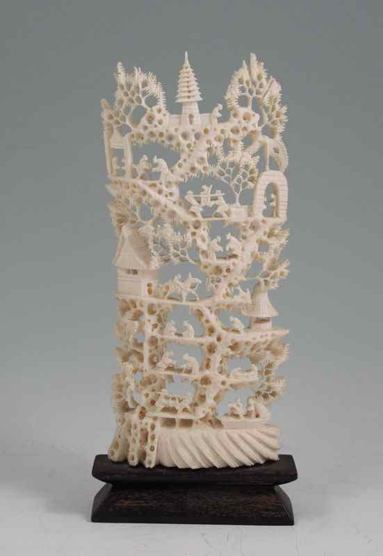 Price Guide For Carved Chinese Village Ivory Tusk Carved