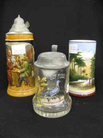 3 Antique Steins;early Bermuda with lithopane