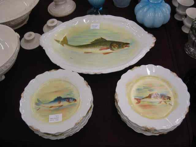 11 pcs. Limoges Porcelain Fish Service includes