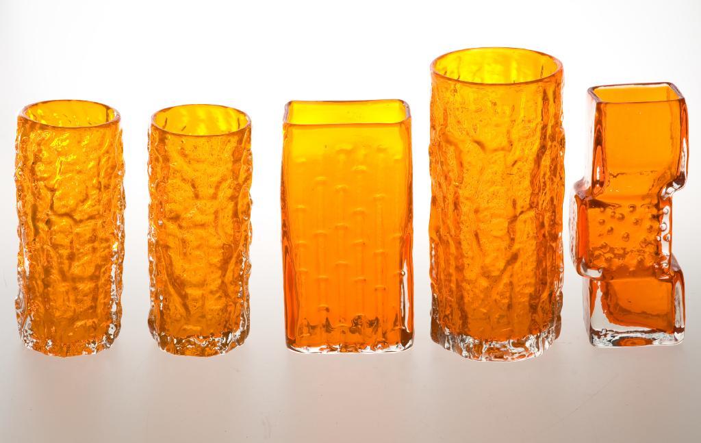 Price Guide For Whitefriars Glass Tangerine Bark Vase Designed