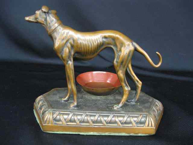 Deco Bronzed Ashtray figural dog standing