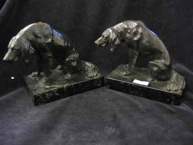 Pair of Bronze Figural Dog Bookends sad hound