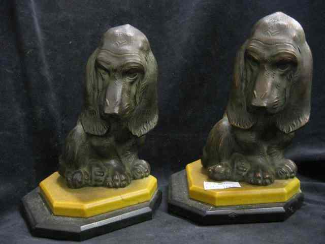Pair of Figural Dog Bookends bronzed deco